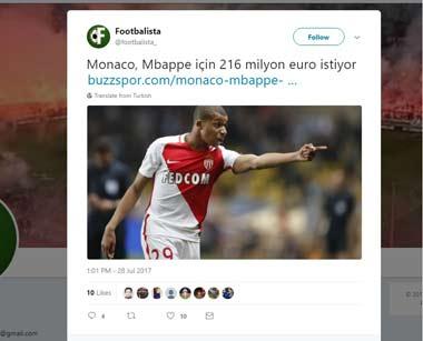 Monaco, Mbappe için 216 milyon eur